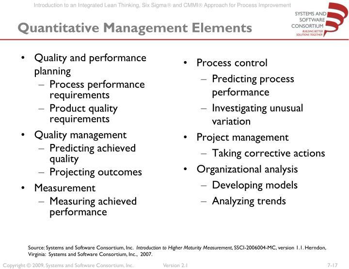 Quantitative Management Elements