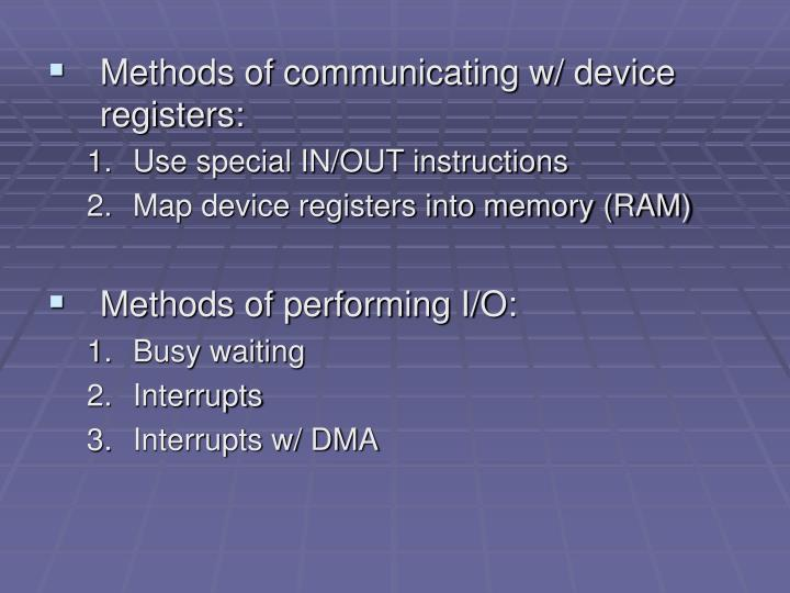 Methods of communicating w/ device registers: