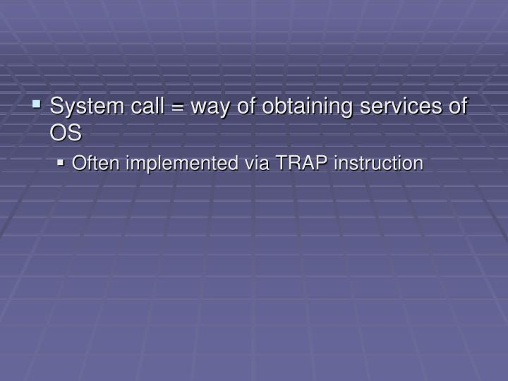 System call = way of obtaining services of OS