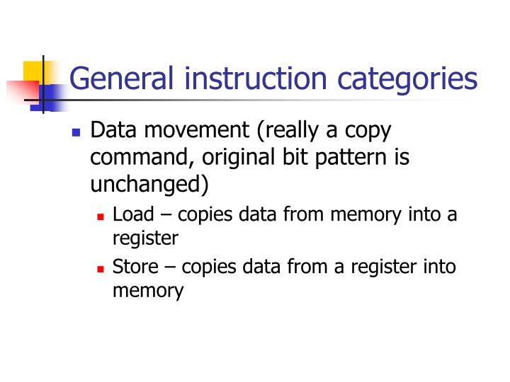 General instruction categories