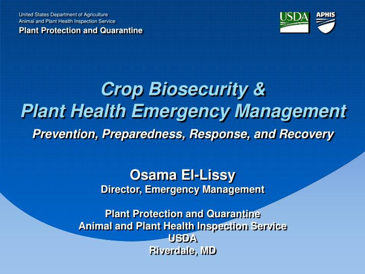 crop biosecurity plant health emergency management