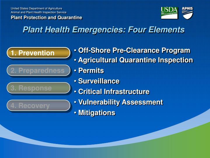 Plant Health Emergencies: Four Elements