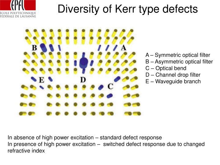 Diversity of Kerr type defects