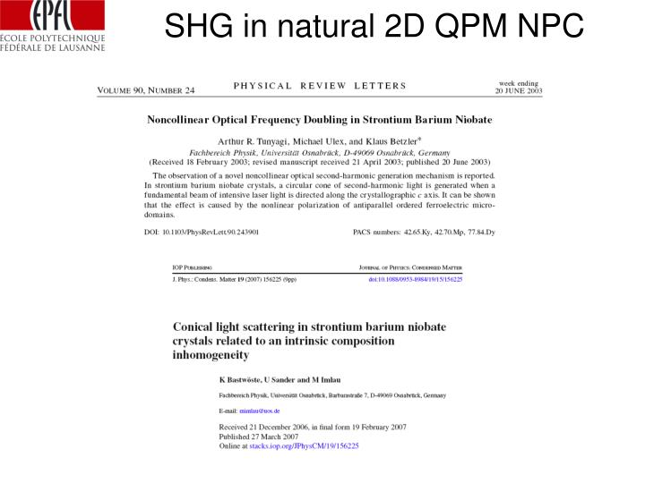 SHG in natural 2D QPM NPC