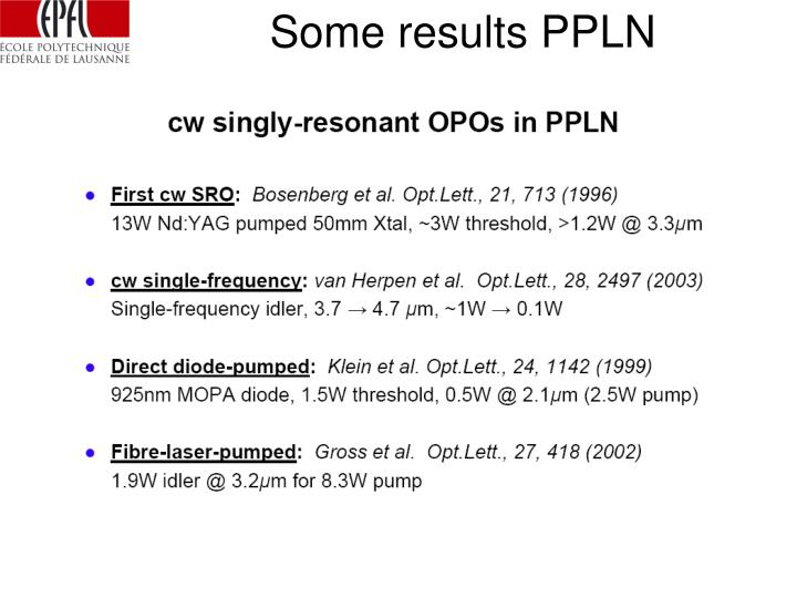 Some results PPLN