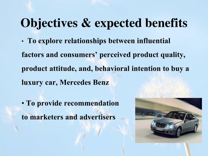 Objectives & expected benefits