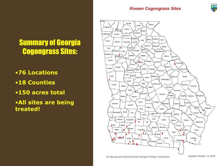 Summary of Georgia Cogongrass Sites: