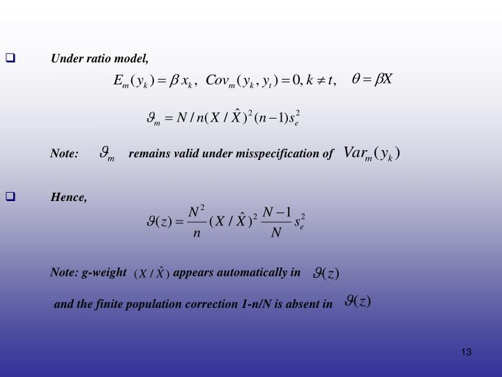 Under ratio model,