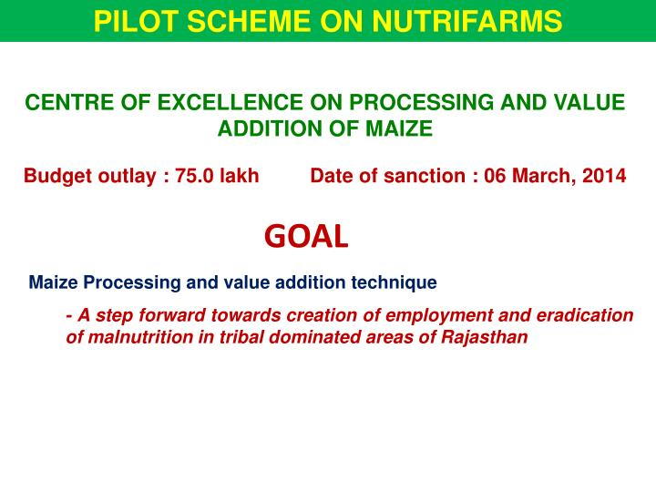 PILOT SCHEME ON NUTRIFARMS