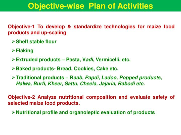 Objective-wise  Plan of Activities