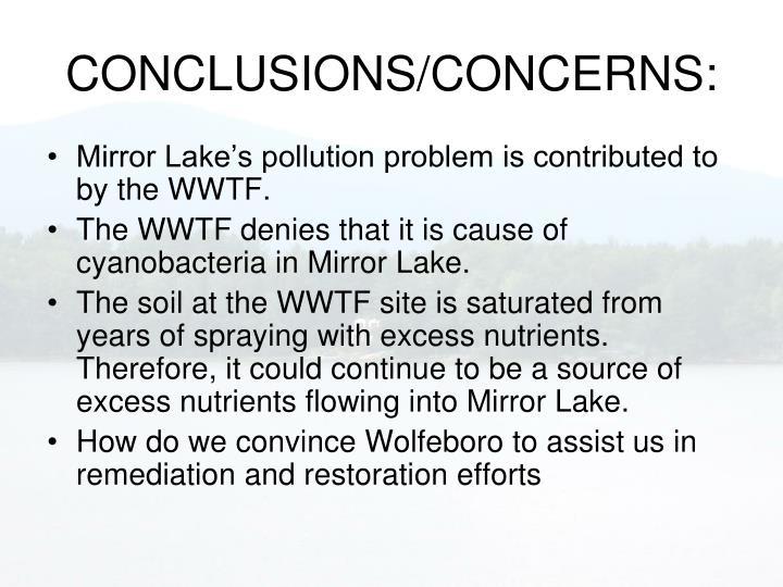 CONCLUSIONS/CONCERNS: