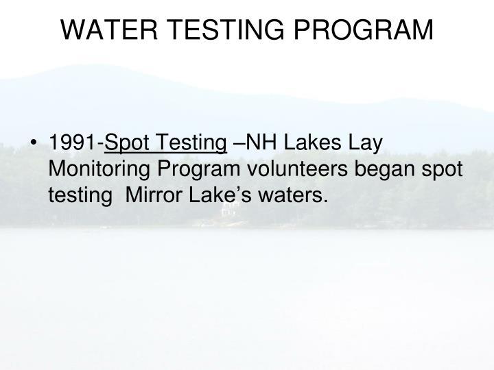WATER TESTING PROGRAM