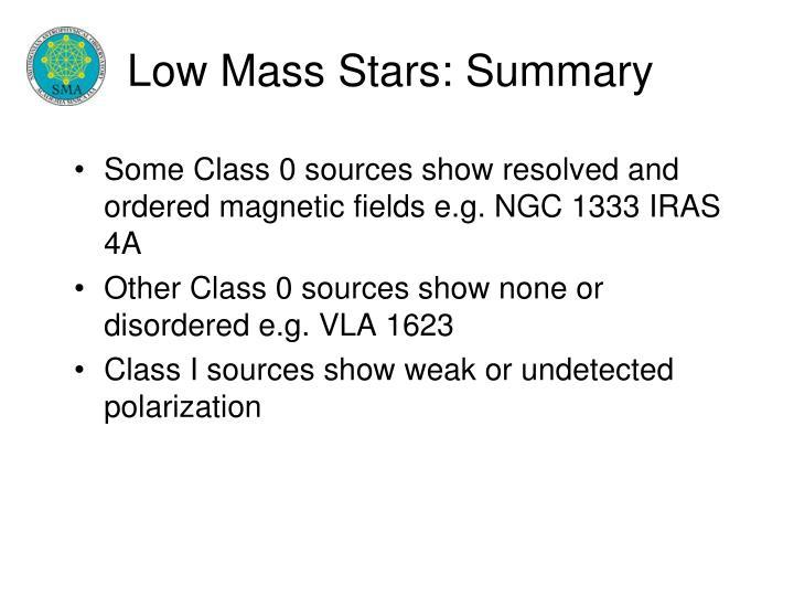 Low Mass Stars: Summary