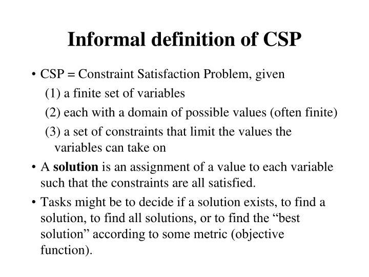 Informal definition of CSP