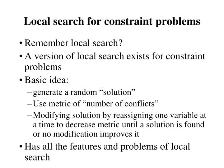 Local search for constraint problems