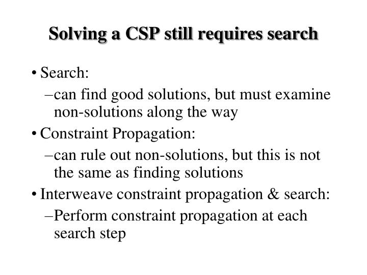 Solving a CSP still requires search