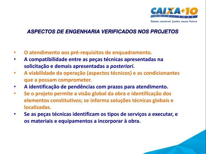 ASPECTOS DE ENGENHARIA VERIFICADOS NOS PROJETOS