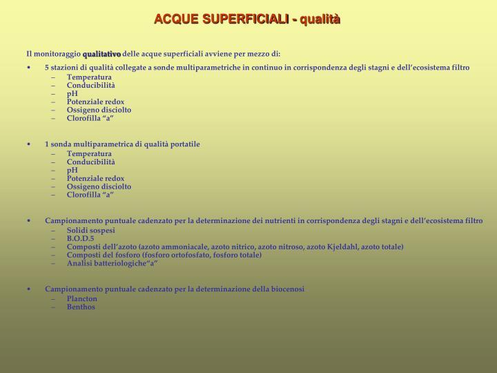 ACQUE SUPERFICIALI - qualità