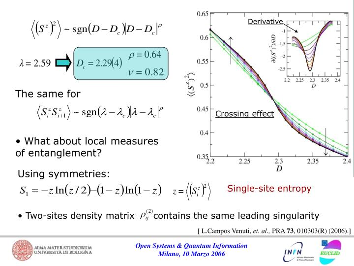 Two-sites density matrix      contains the same leading singularity