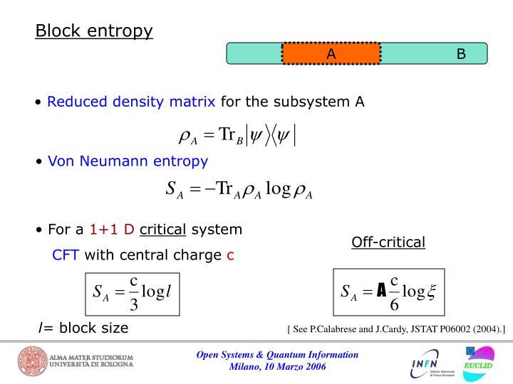 Block entropy