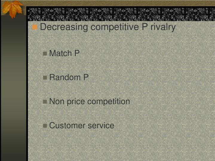 Decreasing competitive P rivalry
