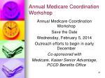annual medicare coordination workshop