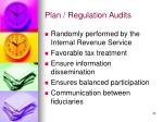 plan regulation audits