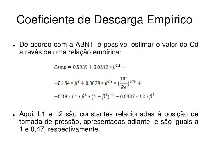Coeficiente de Descarga Empírico