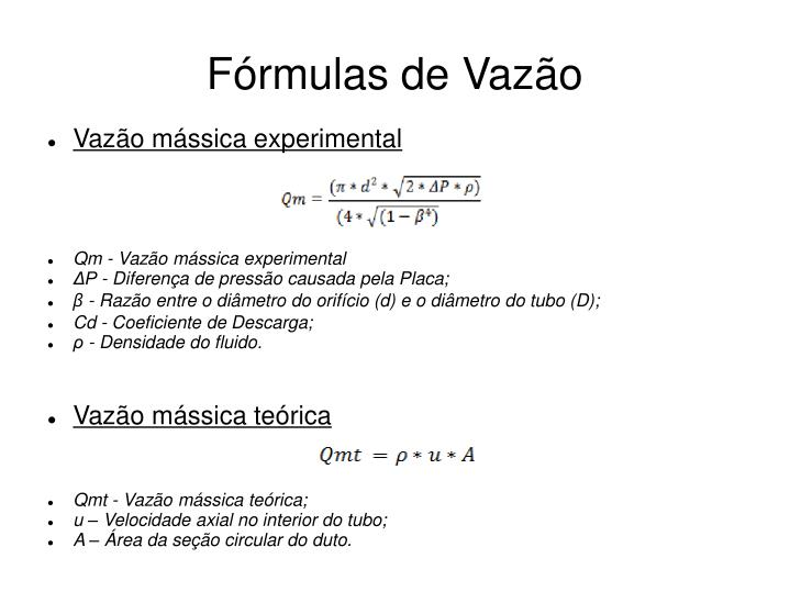 Fórmulas de Vazão
