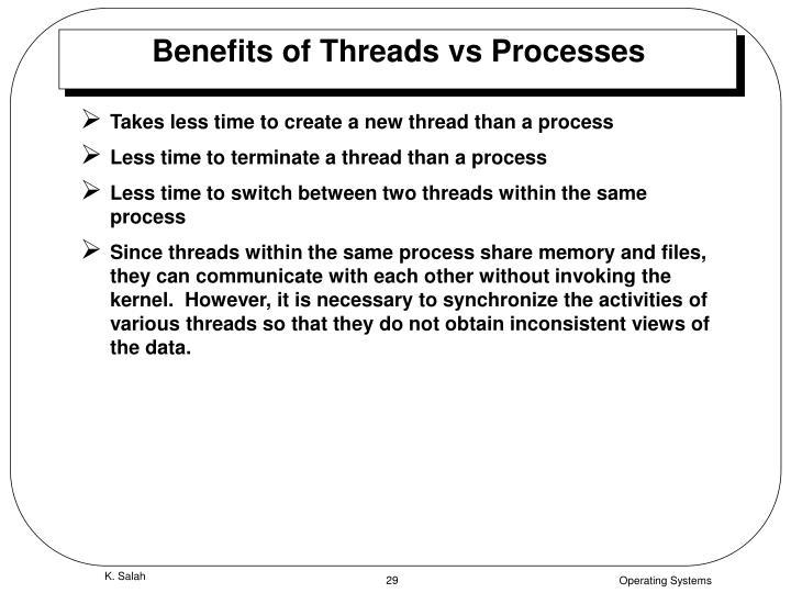 Benefits of Threads vs Processes