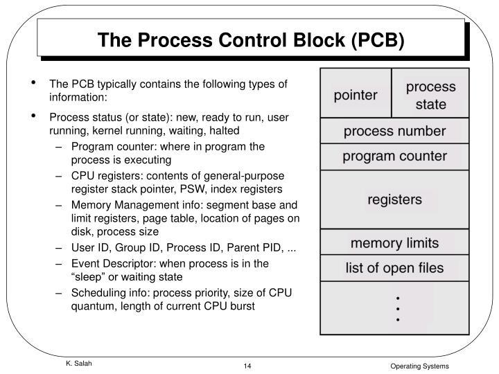 The Process Control Block (PCB)