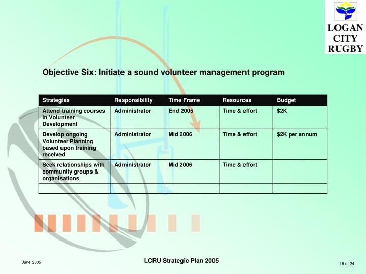 Objective Six: Initiate a sound volunteer management program