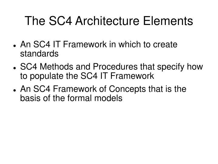 The SC4 Architecture Elements