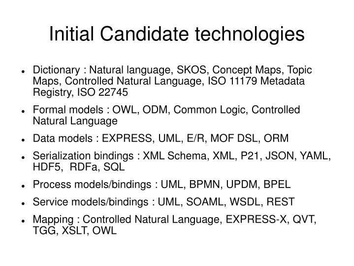 Initial Candidate technologies