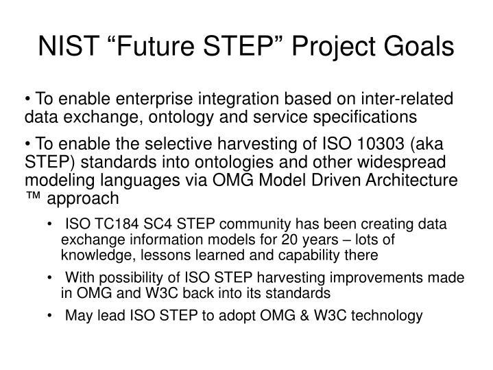 "NIST ""Future STEP"" Project Goals"