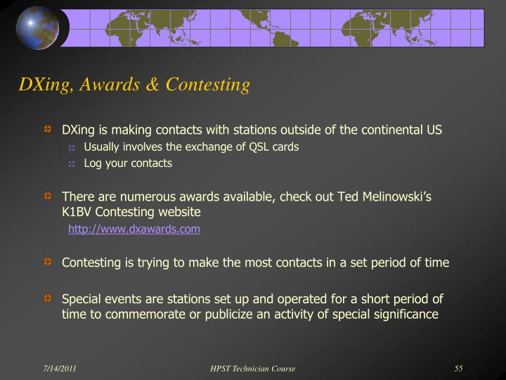 DXing, Awards & Contesting