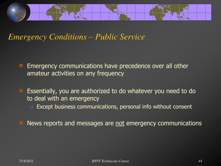 Emergency Conditions – Public Service