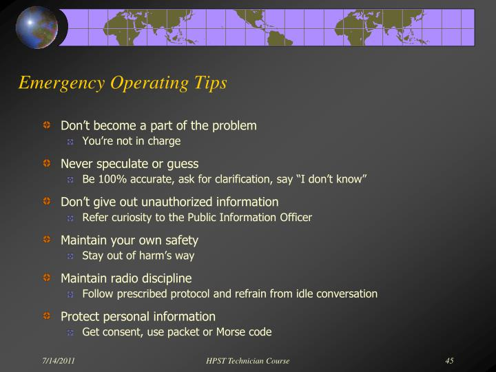 Emergency Operating Tips