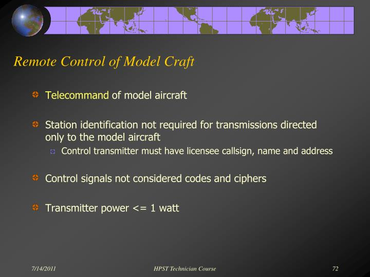 Remote Control of Model Craft
