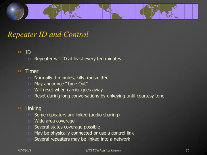 Repeater ID and Control
