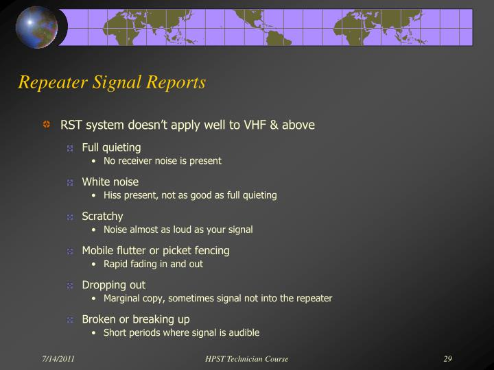 Repeater Signal Reports
