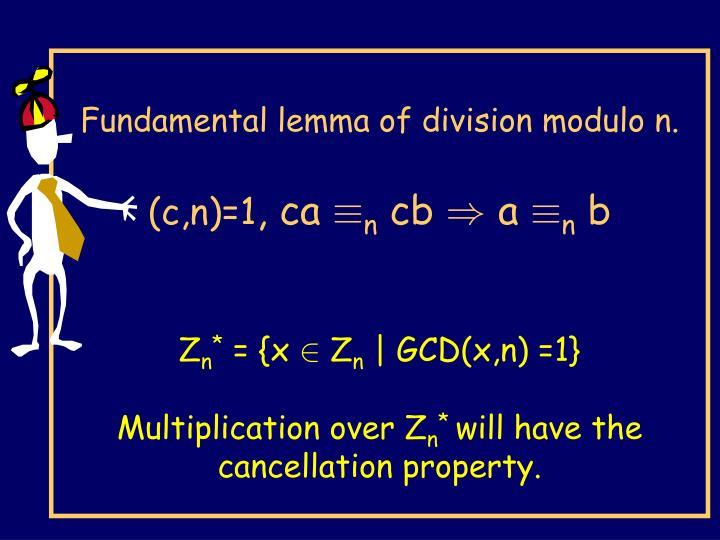 Fundamental lemma of division modulo n.