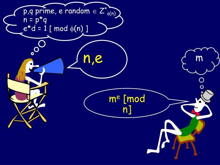 p,q prime, e random