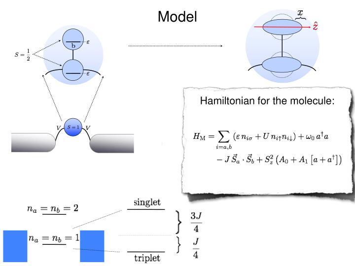 Hamiltonian for the molecule:
