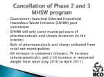 cancellation of phase 2 and 3 mhsw program1