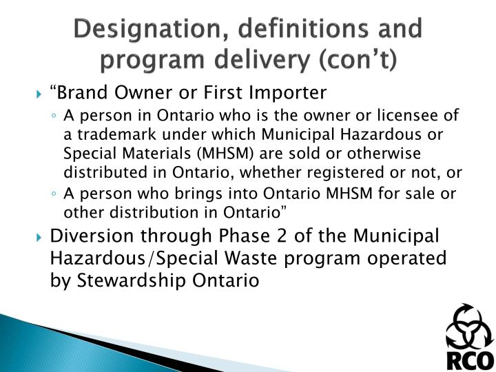 Designation, definitions and program delivery (