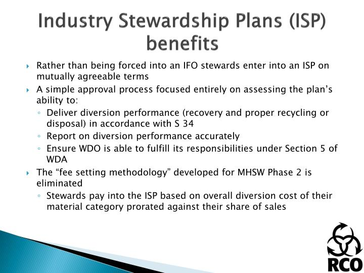 Industry Stewardship Plans (ISP) benefits