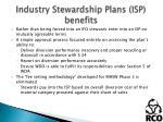 industry stewardship plans isp benefits