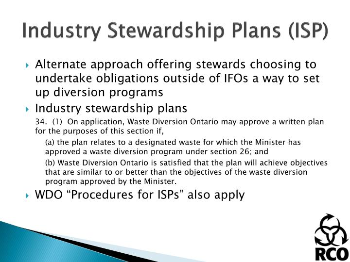 Industry Stewardship Plans (ISP)