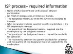 isp process required information